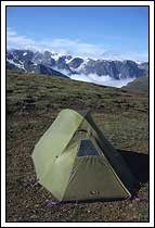 backpacking tent, campsite, Wrangell St. Elias National Park, Alaska