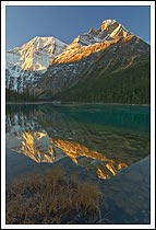 Mt Edith Cavell and reflection in Edith Cavell Lake, Jasper NP, Alberta, Canada