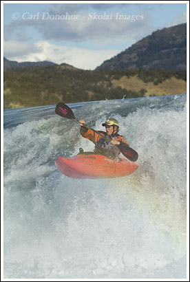 whitewater kayaker, Baker River, Patagonia, Chile.