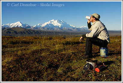 Backpacker and Mt. McKinley, Denali National Park, Alaska.