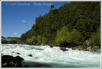 The rapid known as Mundaca, a Class IV kayaking and rafting rapid on the Futaleufu River, in Central Patagonia, Chile.
