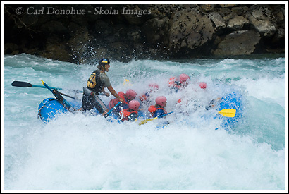 Whitewater rafting on the Futaleufu River. Rafters are excited about running the rapid called Mundaca, and not flipping over. Futaleufu River, Patagonia, Chile.