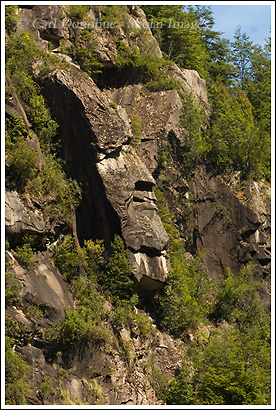 "Cara del Indio, which translates in English as ""Face of the Indian"", a rocky outcrop that resembles a face of a wizened old Indian, the Mapuche. Futaleufu River, Chile."