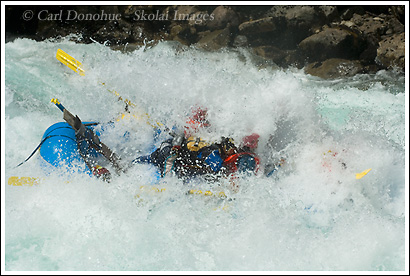 Mundaca, a class IV rapid, swamps a whitewater rafting trip on the Futaleufu River, Patagonia, Chile.