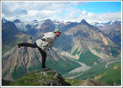 Hiking and trekking above the Chittistone River, Chittistone, Valley, Wrangell St. Elias National Park, Alaska.