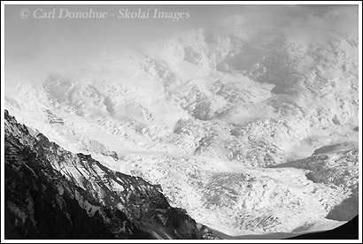 The north face of Mt. Bona, in the University Range, Wrangell - St. Elias National Park, Alaska. Black and white photo of Mt. Bona..