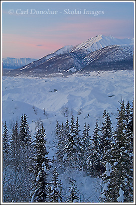Sunrise in wintertime, Kennecott Glacier, Wrangell - St. Elias National Park, Alaska.