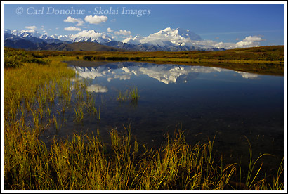 Denali, Mt. McKinley and reflection, Denali National Park, Alaska.