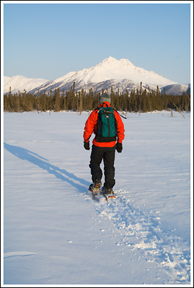 Winter snowshoeing in Wrangell St. Elias national Park, Alaska.