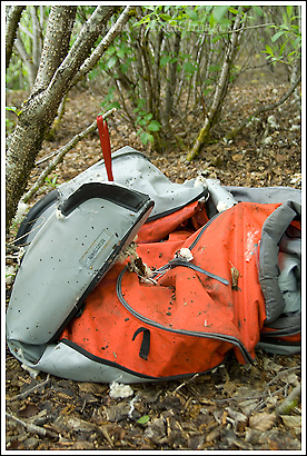 Advanced Elements inflatable kayak, destroyed by grizzly bear, Wrangell St. Elias National Park, Alaska.