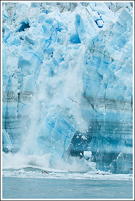 Calving ice from the  Hubbard Glacier, Gilbert Point, Russell Fjord, Alaska.