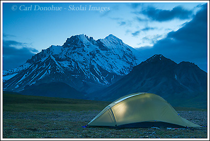 Tent and Mt Drum, Wrangell St. Elias National Park, Alaska.