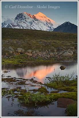 Mount Drum and alpenglow, Wrangell St. Elias National Park, Alaska.