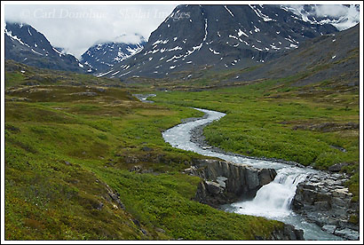 Waterfall on the East Fork Tributary of the Little Bremner River, Wrangell - St. Elias National Park, Alaska.