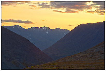 Sunset over the Bremner River, Wrangell St. Elias National Park, Alaska.