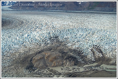 Broken calving ice at the terminus of the Tana Glacier, near the Bagley Icefield, Wrangell - St. Elias National Park, Alaska.