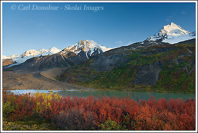 Dwarf Birch in fall color and Thompson Ridge, Ross Green Lake at sunset, Wrangell - St. Elias National Park, Alaska.