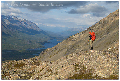Backpacking near tebay lakes, Wrangell St. Elias National Park, Alaska.