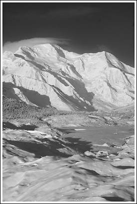 Black and white photo of Mount Blackburn, Wrangell St. Elias National Park, Alaska.