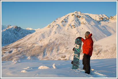 Snowboarder in Wrangell St. Elias National Park, Alaska