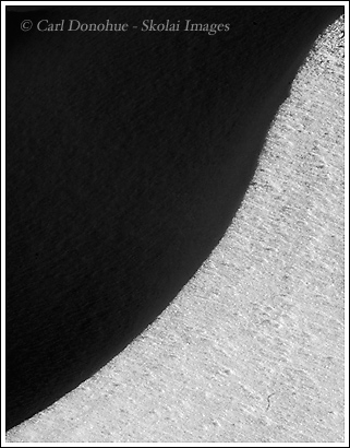 An absract photo, shadow and light, winterm representing yin yang, on snow bank, Wrangell St. Elias National park, Alaska.