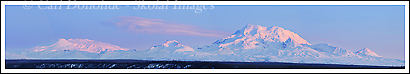 Panoramic photo of Mt Drum and Mt Wrangell, Wrangell - St. Elias National Park, Alaska.