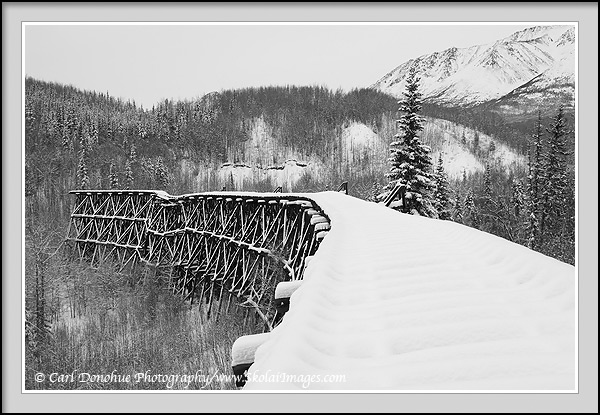 The Gilahina Trestle fades into winter, Wrangell - St. Elias National Park and Preserve, Alaska.