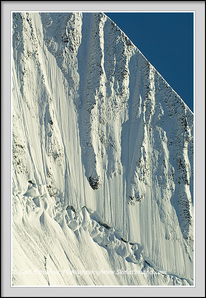Vertical frame of a steep wall of the St. Elias mountain Range, Wrangell - St. Elias National Park and Preserve, Alaska.
