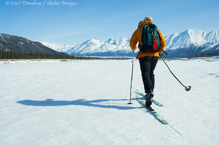 Backcountry cross country skiing (XC skiing), Wrangell - St. Elias National Park and Preserve, Alaska.