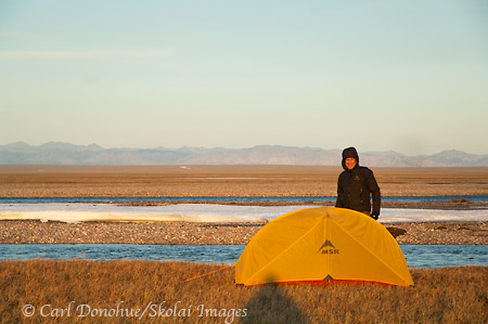 Chuck and his MSR hubba on the coastal plain, ANWR, Alaska.