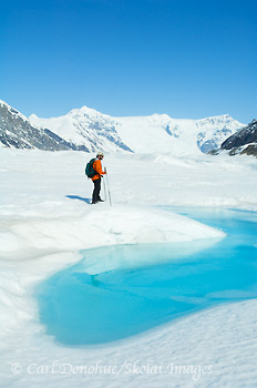 Backcountry skiing on the Root Glacier, Wrangell St. Elias National Park, Alaska.