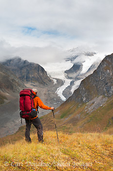 Hiker looking up the Lakina River, Wrangell - St. Elias, Alaska