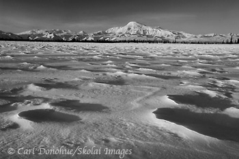 Mount Sanford, black and white photo, Wrangell - St. Elias National Park and Preserve, Alaska.