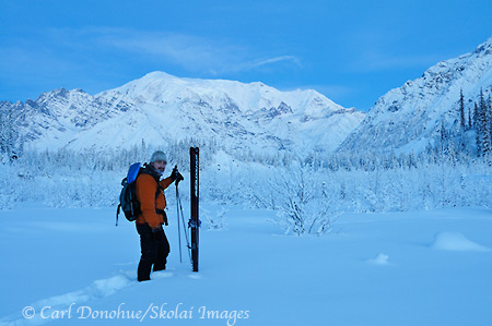 Backcountry Skiing trip, Kuskulana River, Mt. Blackburn, winter, Wrangell St. Elias National Park and Preserve, Alaska.