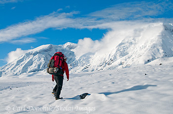 Hiking in snow, Mt Jarvis, Wrangell - St. Elias, Alaska.