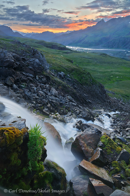 Waterfall and sunset, Wrangell - St. Elias National Park and Preserve, Alaska.