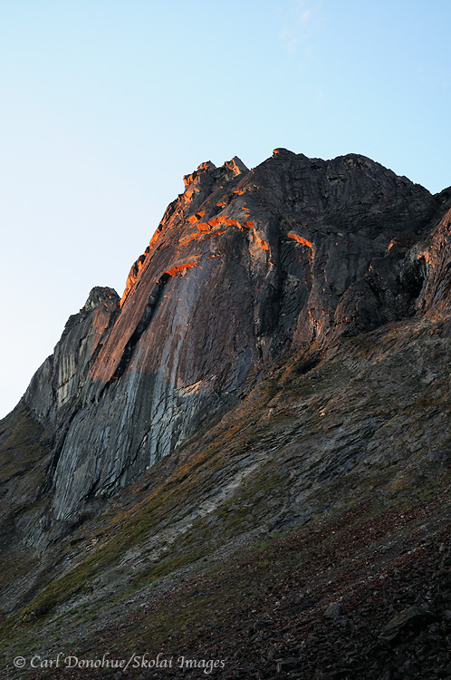Arrigetch Peaks at dawn, Gates of the Arctic National Park, Alaska.