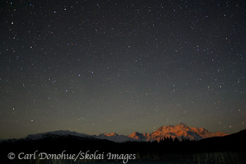 Night sky over Mt. St. Elias, Wrangell - St. Elias National Park and Preserve, Alaska.