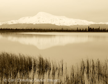 Mount Sanford in Black and White, Wrangell - St. Elias National Park and Preserve, Alaska.
