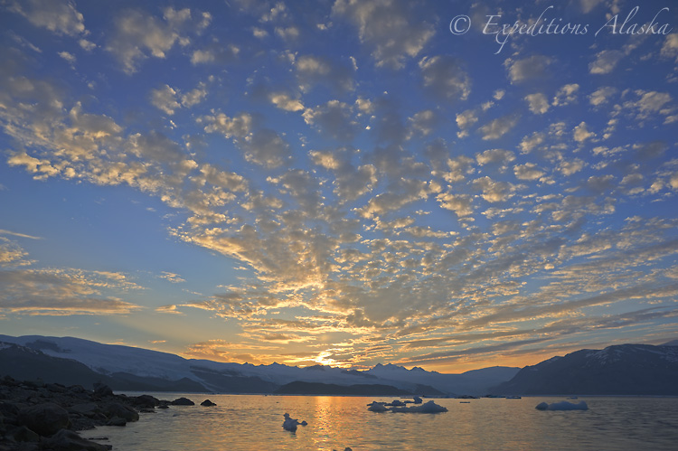 Sunset over Icy Bay, Wrangell St. Elias National Park.