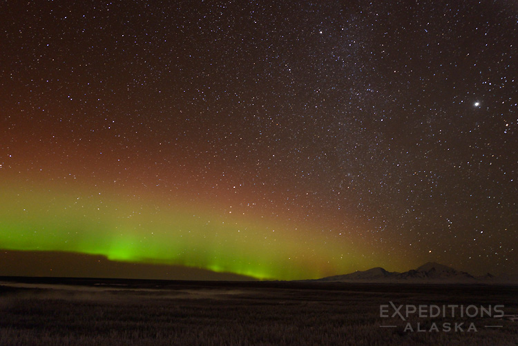 Northern lights and Wrangell Mountains.