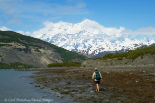 Hiking along Icy Bay toward Mount St. Elias.