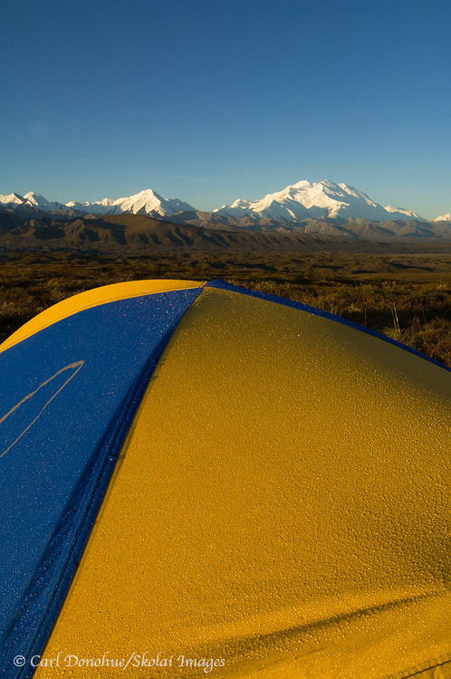 A tentsite, backcountry camping in Denali National Park, Alaska.