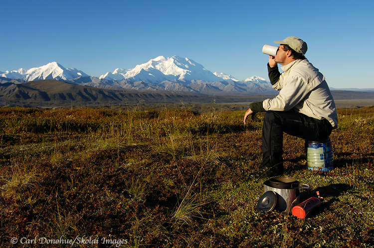 Backpacker and Mount McKinley.