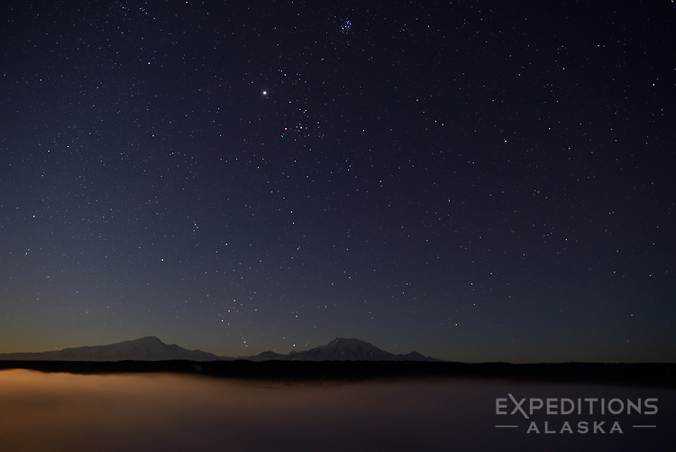 Mt. Sanford, Mt. Drum, the Copper River and the Night Sky.