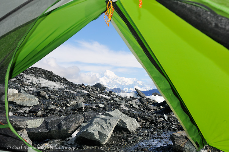 Tent view of Mt. St. Elias