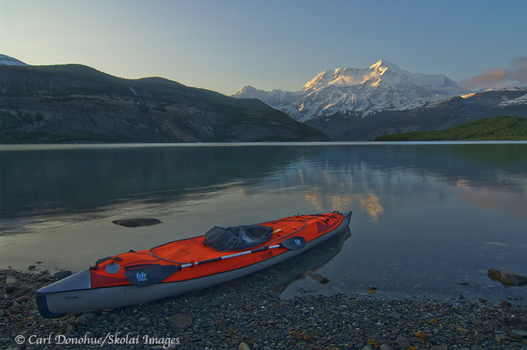 Sea kayak at Icy Bay below Mt. St. Elias.
