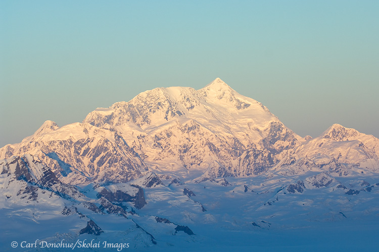 Aerial photo of alpenglow on Mt. St. Elias.