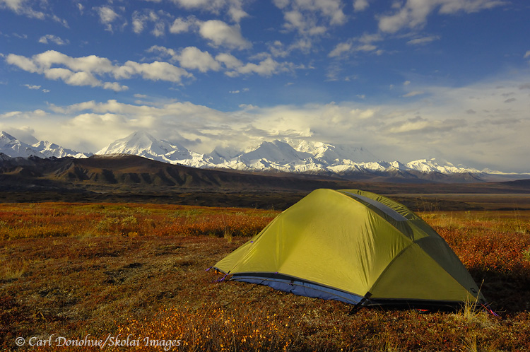 Backpacking camping near Mt. McKinley in Denali National Park, Alaska.