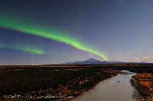 Northern lights over Copper River, Wrangell St. Elias Alaska.